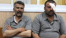 Jawdat Ibrahim (Left) and Ibrahim Bani Jaber (Right) are seen in Nablus' Rafedia Hospital, on, July 7, 2012. Jawdat Ibrahim was handcuffed and beaten up by Israeli soldiers who then released him in front of Israeli settlers that attacked him while the soldiers watched. He was the tied up by the settlers and left on his land, and was found only this morning. Ibrahim Bani Jaber from Aqraba was injured in the eye after being hand cuffed by the Israeli army and left for the settlers to assault.