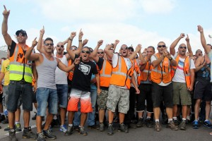 Workers demonstration against privatization (Photo: Haifa Port Worker's Union)