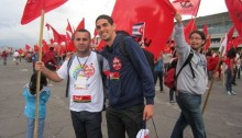Arafat Badarneh and Roi Khenin, members of the leadership of the Young Communist League of Israel to the 18th World Festival of Youth and Students, held in Ecuador (Photo: Al Ittihad)