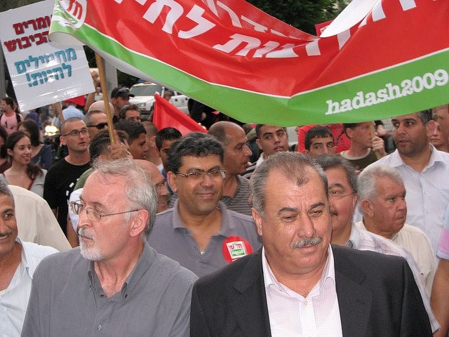MK Barakeh during a demonstration against occupation in Tel-Aviv (Photo: Al Ittihad)