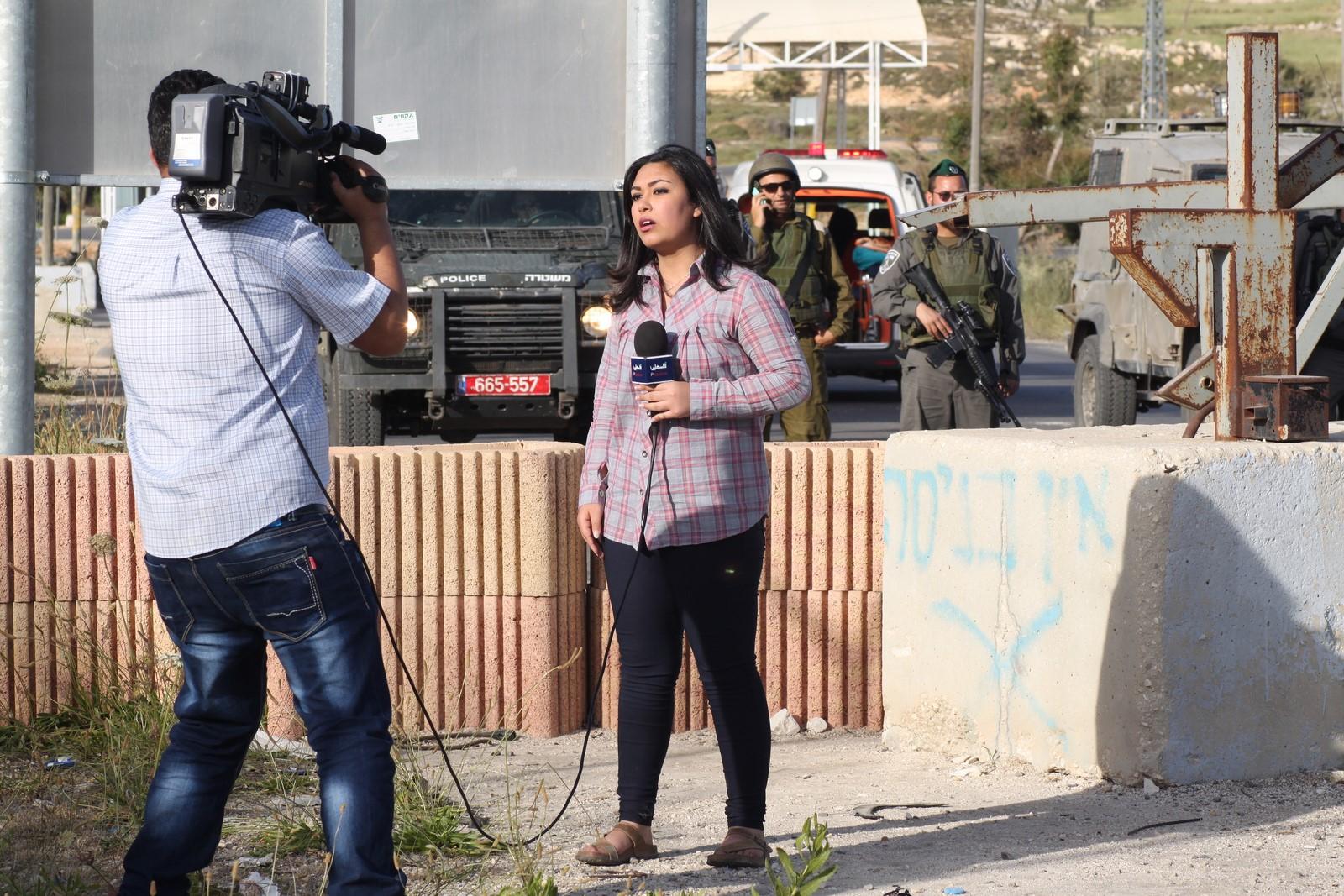 Palestinian journalists near Ramallah (Photo: Al Ittihad)