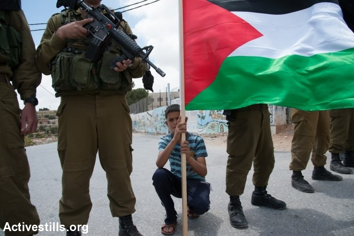 Palestinian activists confront Israeli soldiers during the weekly demonstration against the Israeli separation barrier in the West Bank village of Al Ma'sara, June 6, 2014. The separation barrier would cut off the village from its agricultural lands if it is built as planned (Photo: Activestills)