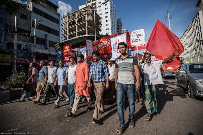 A Communist Party of Bangladesh rally in solidarity with Gaza (Photo: Sebastien Chatelier)