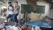 Damaged classrooms lie in ruins following the overnight Israeli shelling of an UNRWA school where some 3,300 Palestinians were seeking shelter, Jabalyia, Gaza Strip, July 30, 2014. At least 20 people were killed in the attack which injured more than 100 (Photo: Activestills)