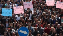 Postal workers demonstration in Tel-Aviv (Photo: Histadrut)