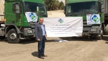 Bilal Malkawi, ITF Arab World representative regional secretary, with the latest shipment to Palestinian population in Gaza Strip (Photo: ITF)