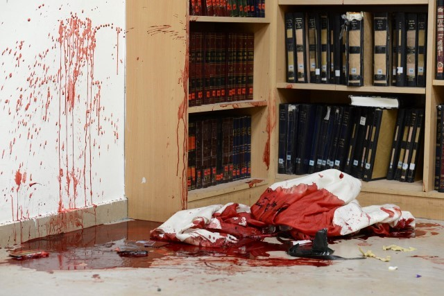 The synagogue in Jerusalem after the deadly attack (Photo: IPO)