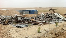 A demolished home in the unrecognized Arab-Bedouin village of Wadi Al-Na'am.