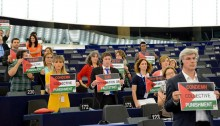 GUE/NGL Group in the European Parliament: Demonstration in solidarity with the Palestinian people during a plenary session in Strasbourg, July 2014.