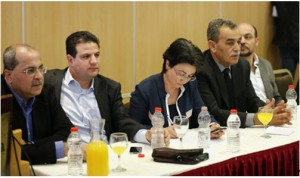 Press conference held by the new Hadash-Arab parties United List in Nazareth, last Friday. Second from left, Attorney Ayman Odeh from Hadash, the number one candidate heading the list.
