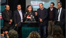 """Leading figures from the Hadash-Arab parties Joint List launched their Hebrew-language campaign in the """"Hagada Hasmalit"""" (""""Left Bank"""") Alternative Cultural Center in central Tel Aviv on Wednesday evening, Feb 11."""