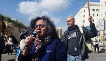 Hadash candidate Aida Touma-Sliman at a workers' demonstration in Jerusalem.