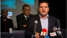 Hadash chairman Ayman Odeh at a press conference in Tel-Aviv, February 11, 2015.