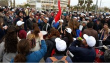 Workers demonstrate, last week, in Arad.