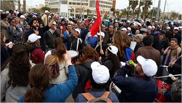 Workers demonstrate, last week, in Arad.