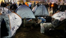 Activists have pitched their tents again on Rothschild Boulevard, three and a half years after the 2011 social protest movement, Tel Aviv, March 1, 2015.