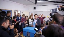 Joint List leader Ayman Odeh voted in Kababir near his Haifa home on Tuesday morning.