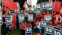 "MK Khenin (center) at the last May Day rally in Tel-Aviv. The posters demand ""NIS 30 per hour minimum wage."""