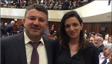 Hadash MK Dr. Yousef Jabareen (Joint List) with his wife in the Knesset on the day all lawmakers were sworn-in, March 31, 2015.