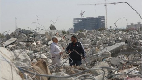 Ruins of the three homes destroyed last Wednesday under a demolition order in the unrecognized village of Dahamesh, near Lod. This was the third in a series of demolitions in the Arab community in Israel within 48 hours.
