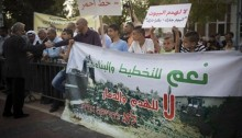 A demonstration against house demolitions, last Monday, in Ramla.