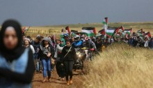 "Part of the procession of the 18th annual ""March of Return"" to the site of the village of al-Haditha, near Tiberias, April 23, 2015."