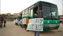 "Palestinians demonstrate against ""separation"" in occupied West Bank Israeli buses."