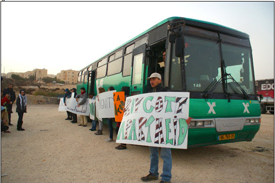 "Palestinians demonstrate against ""separation"" in occupied West Bank Israeli buses."