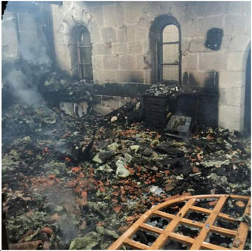 Destruction at the Church of Loaves and Fishes at Tabgha apparently torched by Jewish Right-Wing Extemists, June 18, 2015