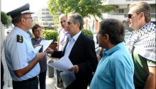 A WFTU delegation headed by the WFTU General Secretary George Mavrikos with members of the General Union of Palestinian Workers in Athens and PAME as they attempt to deliver at the Israeli embassy in Athens an official resolution of the WFTU supporting the recognition of the Independence of the State of Palestinian within the 1967 borders and with East Jerusalem as its capital.
