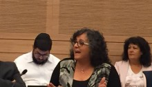 MK Aida Touma-Sliman during a debate in the Knesset