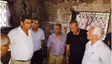 Leading activists from Hadash and the CPI conducted a solidarity visit on Monday, August 3 at the home of the Dawabsheh family in the occupied village of Duma; first from left: CPI General Secretary, Adel Amer.