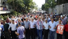 Thousands march in the rally in Nazareth on Saturday, October 10. Among the marchers were all MKs of Hadash: Joint List chairman Aymen Odeh, Dov Khenin, Aida Touma-Sliman, Yousef Jabareen and Abdallah Abu Ma'aruf.