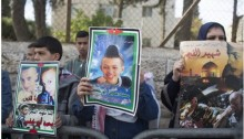 Friends and family of Mohammed Abu Khdeir demonstrated near Jerusalem court, last Monday, November 30, 2015.