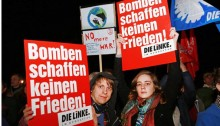 A demonstration of Die Linke against German intervention in Syria, last week.