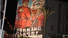 A huge banner in Tel Aviv during the massive social protest in 2011