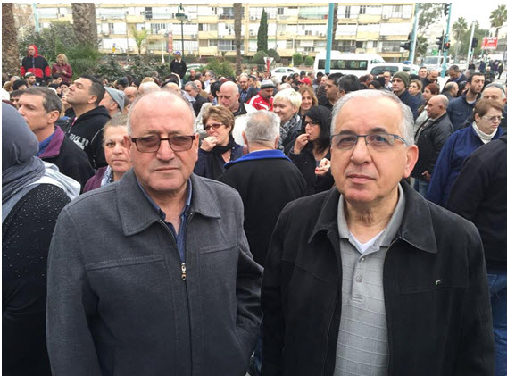 Hadash Histadrut fraction leaders, Majid Abu-Younes and Suhail Diab at the Mega workers' demonstration, last Sunday, in Tel-Aviv