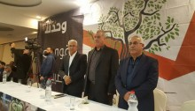 The main speakers' table at the conference held Saturday evening in Shefamr to mark International Arab Rights in Israel Day; in the center, Mohammed Barakeh