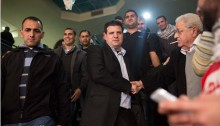 Ayman Odeh minutes after he was elected to head the Hadash list in the March 2015 general elections for the 20th Knesset, Nazareth, January 17, 2015