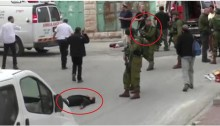 Footage from the B'Tselem video documenting the extrajudicial execution in Hebron, March 24, 2016