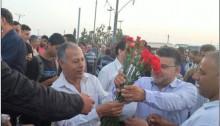 Hadash MKs Abdallah Abu-Ma'arouf, left, and Yousef Jabareen at Eyal checkpoint north of Kalkilya on May Day