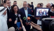 Attorney Suhad Bishara speaking to journalists after last week's hearing at the Supreme Court (Photo: Adalah)