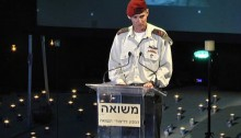 IDF Deputy Chief of Staff, Maj. Gen. Yair Golan, during the Holocaust Remembrance Day at Kibbutz Tel-Yitzchak, Wednesday, May 4 (Footage from Channel 10)