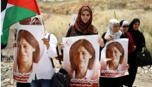 Palestinian women demonstrate in solidarity with Khalida Jarrar.