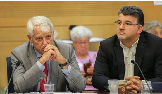 European Union ambassador to Israel Lars Faaborg-Andersen and Hadash MK Youseef Jabareen (Joint List) at the conference in the Knesset on Wednesday, July 27