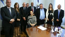 Argentinian Vice President Gabriela Michetti, seated center, with the delegation of Zionist parties MKs