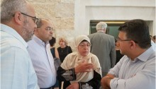 Joint List MKs Youssef Jabareen (Hadash), Ossama Saadi (Ta'al) and Ahmad Tibi (Ta'al) with Bilal Kayed's mother at Israel's Supreme Court in Jerusalem on Monday, August 22