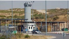 The checkpoint the Israeli military installed at the entrance to Beit Iksa