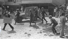 Israeli police in Nazareth on the first Land Day, March 30, 1976