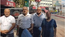 Suhil Diab (second from right) and Hadash activists in the Histadrut at the site of the collapse of the Ramat HaHayal parking garage in Tel-Aviv
